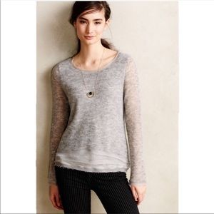 Anthro Knitted & Knotted crotchet gray sweater lg